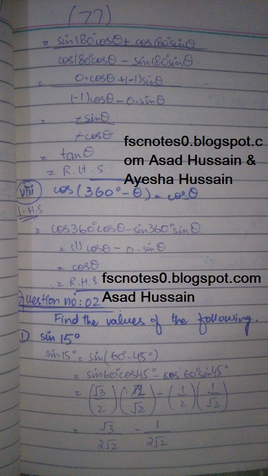 FSc ICS FA Notes Math Part 1 Chapter 10 Trigonometric Identities Exercise 10.2 Question 2 Written by Asad Hussain & Ayesha Hussain