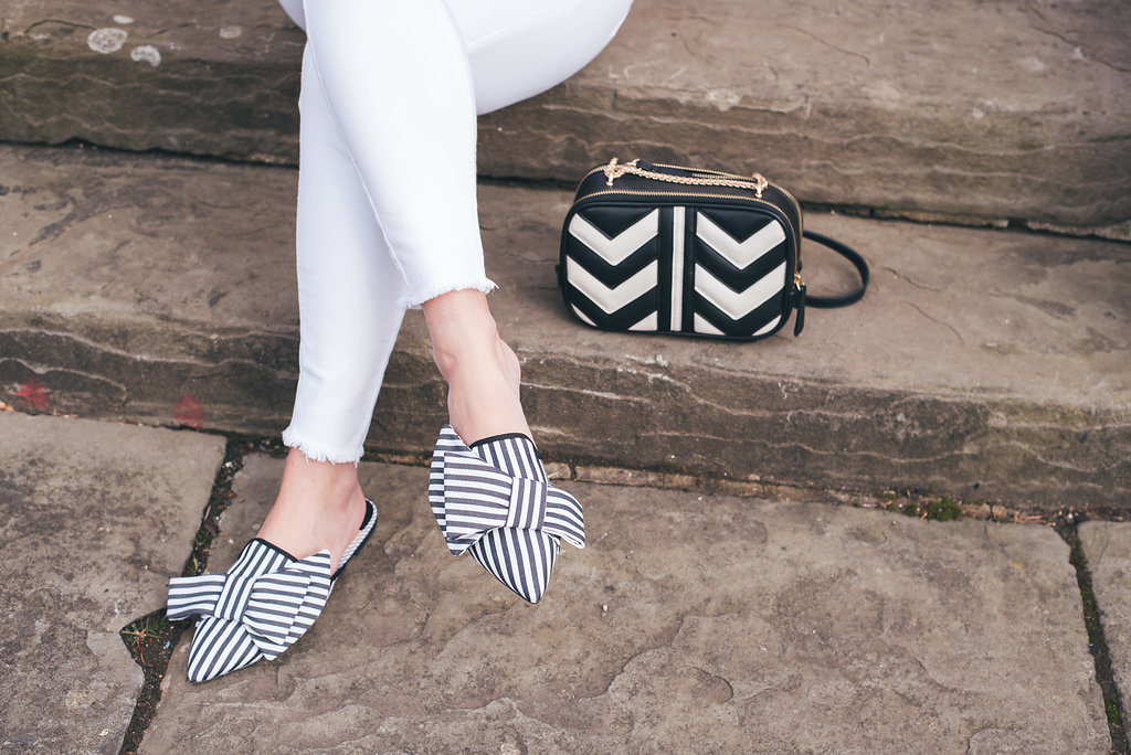 White Jeans with Stradivarius Stripe Mule Shoes and Accessorise Gucci Marmont Chevron Dupe