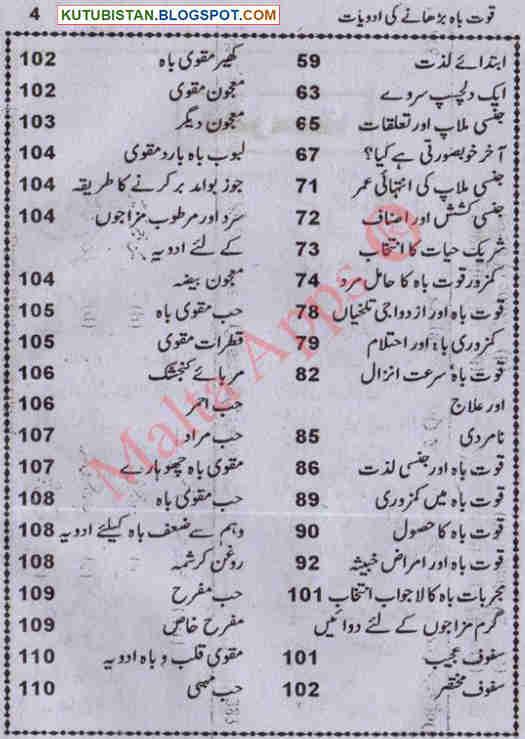 Contents of Mardana Taqat Barhanay Ki Adawiyat