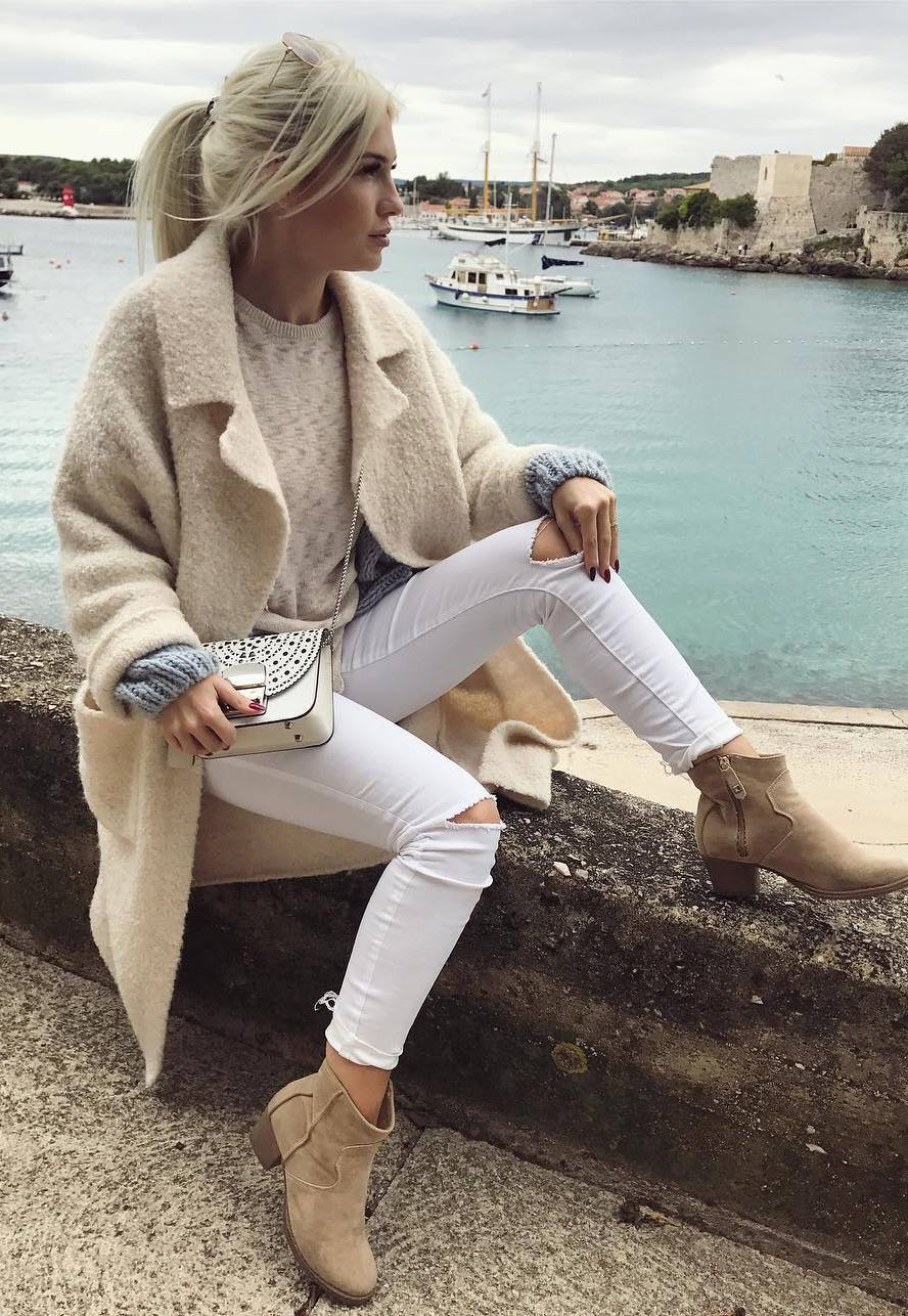 white and nude trends | cashmere coat + sweater + bag + rips + boots
