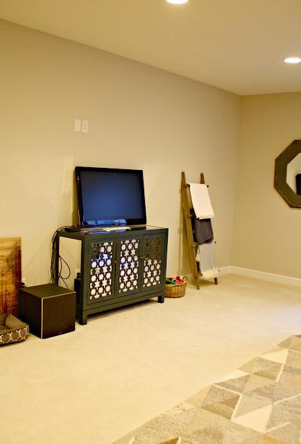 Long TV wall in media room