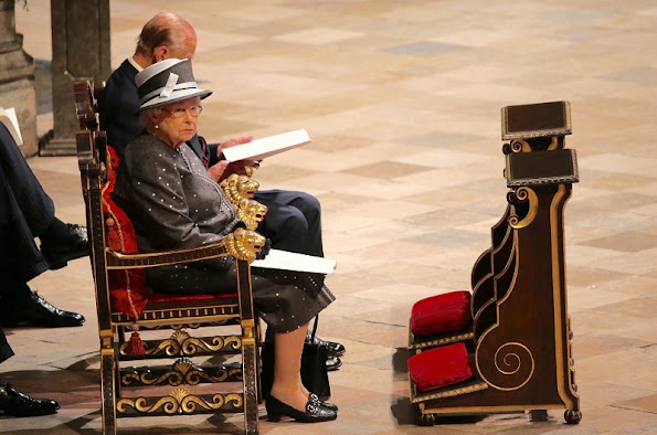 Britain's Queen Elizabeth II and Prince Philip, Duke of Edinburgh attend a Service on the Eve of the Centenary of the Battle of the Somme at Westminster Abbey