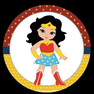 Toppers o Etiquetas de Mujer Maravilla Chibi para imprimir gratis.