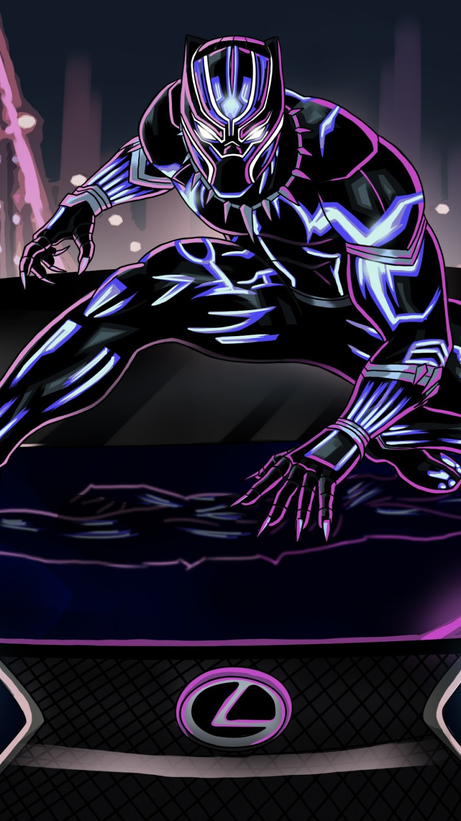 Papel de parede grátis Pantera Negra Lexus LC 500 para PC, Notebook, iPhone, Android e Tablet.