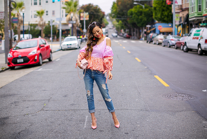 color block peplum top, statement earrings, tassel earrings, 7fam boyfriend jeans, boyfriend jeans, christian louboutin pumps, chanel classic flap bag, chloe sunglasses, summer outfit ideas, san francisco street style, san francisco style blog