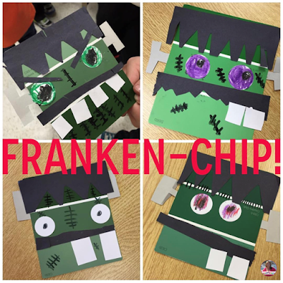 Make a Frankenstein using a a paint chip and construction paper