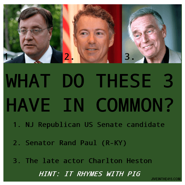What does the late actor Charlton Heston have in common with Kentucky Senator Rand Paul, and New Jersey's Republican US Senate candidate Steve Lonegan?