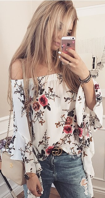 floral blouse + bag + rips
