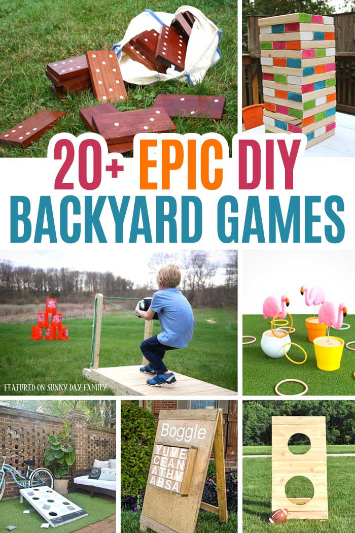 Over 20 awesome DIY backyard games your family will love! Perfect for backyard parties, family game night, or just for fun, your kids will love these giant outdoor games. With everything from giant Boggle to corn hole and Jenga, you'll find the perfect backyard DIY project for your family. #DIY #backyard #summer #familygamenight #partyideas