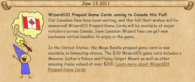 Thoughts of a Necromancer: Wizard101 prepaid cards are coming to Canada!
