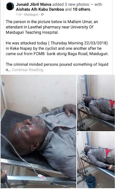 Photos: Unidentified Assailants Attack & Rob Pharmacy Attendant Inside Keke In Maiduguri, Pour