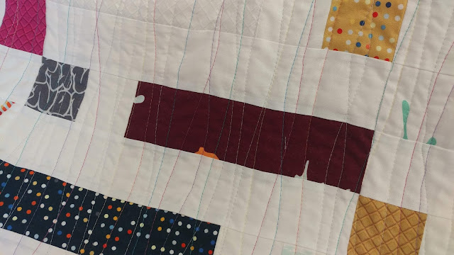 "Walking foot ""squiggles"" quilting from Piece and Quilt with Precuts"