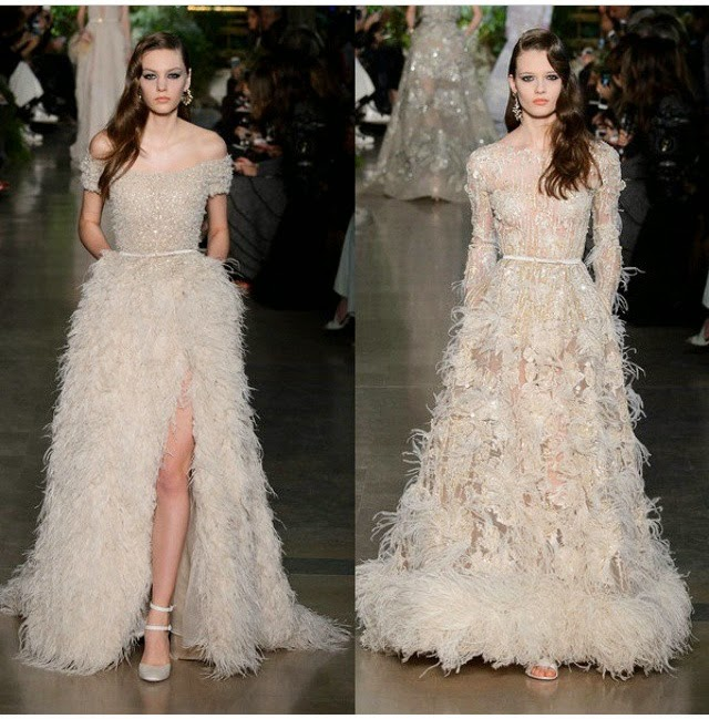 Elie Saab ostrich feather gowns