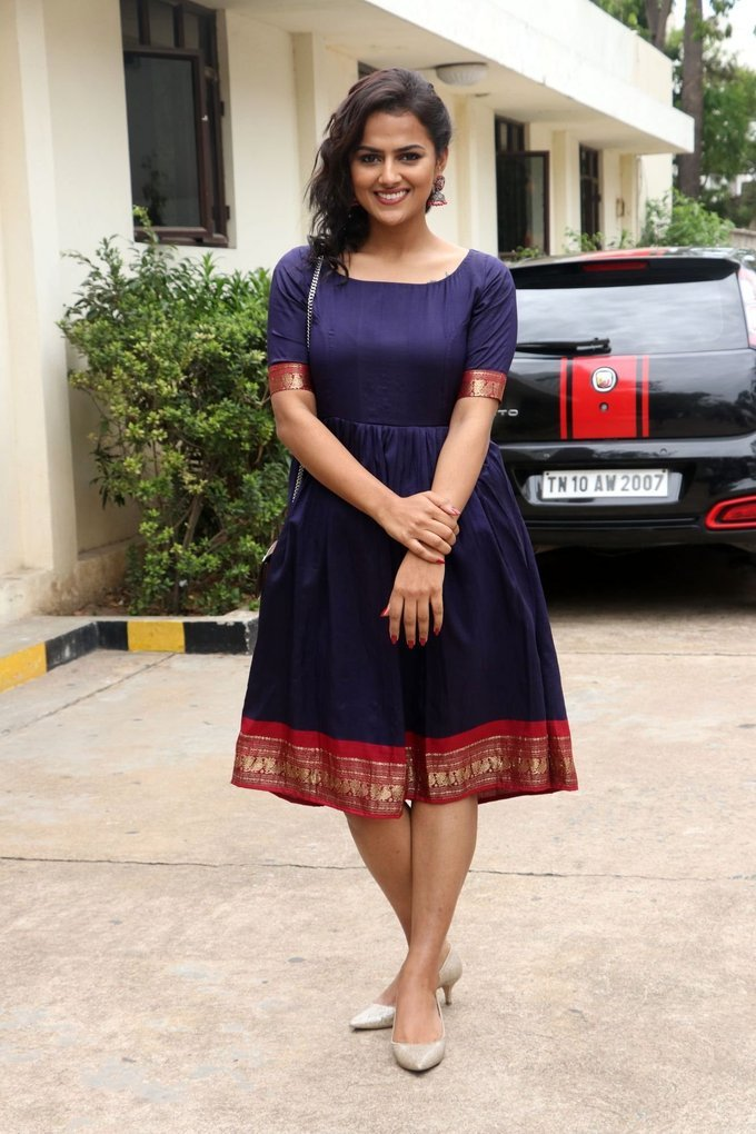 Beautiful Telugu Girl Shraddha Srinath Long Hair Photos In Blue Dress