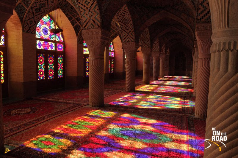 Impressive interiors of the Nasir-Al Mosque, Shiraz, Iran