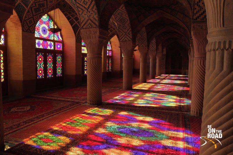 Impressive interiors of the Nasir-Al Mosque, Shiraz, Iran