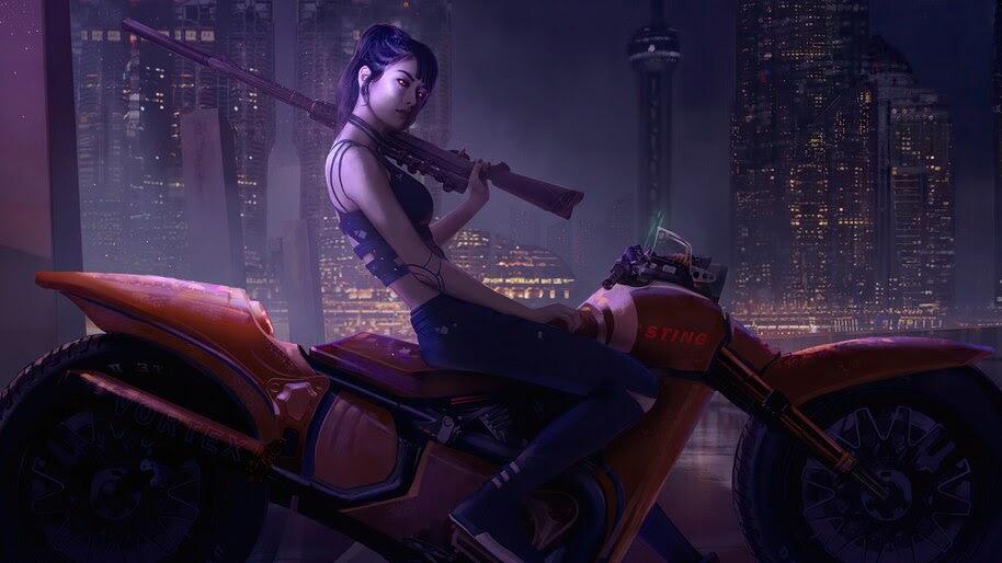 Cyberpunk, Girl, Motorcycle, Sci-Fi, 4K, #6.733