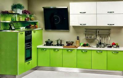 Diseño de cocina color verde