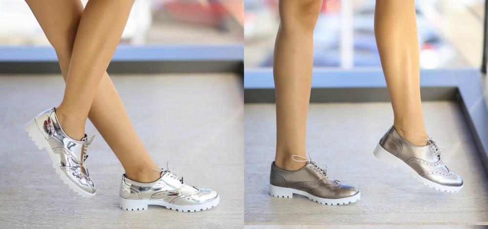 Pantofi casual femei 2017 gri, argintii ieftini la moda