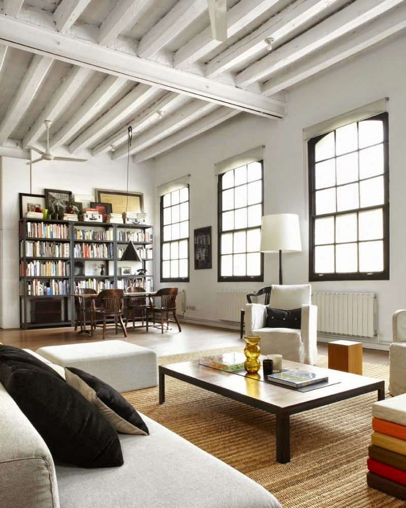 white apartment new york style loft in barcelona. Black Bedroom Furniture Sets. Home Design Ideas