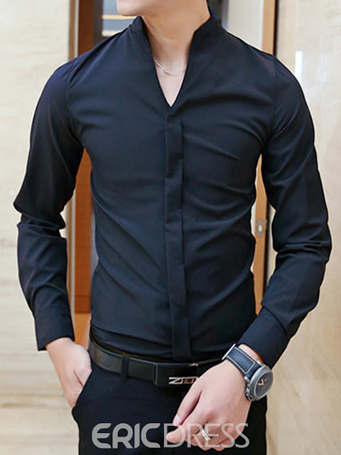 Solid Color V-Neck Men's Shirt
