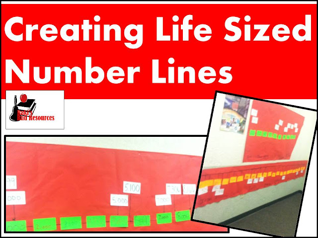 Creating life sized number lines with index cards - math ideas from Raki's Rad Resources