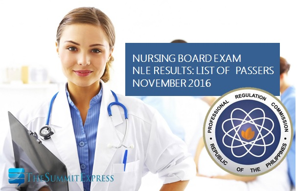 NLE results passers November 2016