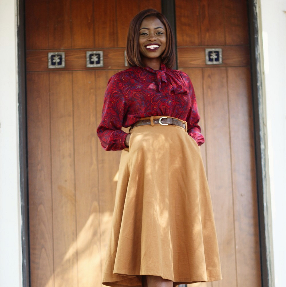 pussy bow blouse, camel, midi skirt, tweed, mustard, beige, puff sleeves