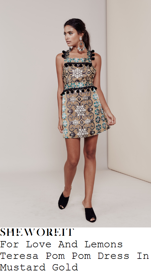 ferne-mccann-for-love-and-lemons-teresa-mustard-gold-silver-green-and-black-floral-pattern-pom-pom-detail-mini-dress