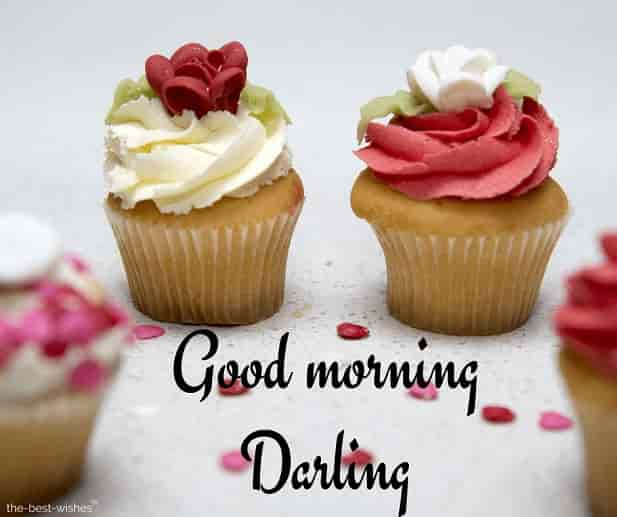 good morning darling with cupcake