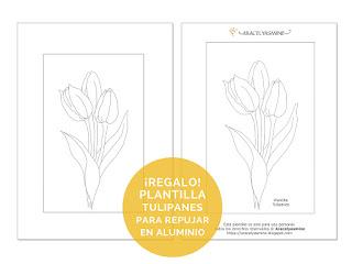 plantillas dibujos patrones para repujado en aluminio tulipanes