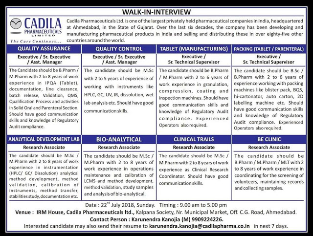 Multiple job position at Cadila Pharmaceuticals Limited