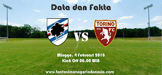 Data dan Fakta Liga Fantasia Serie A Gio 23 Sampdoria vs Torino Fantasi Manager Indonesia