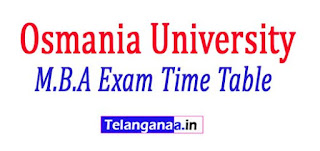 Osmania University M.B.A Exam Time Table Download