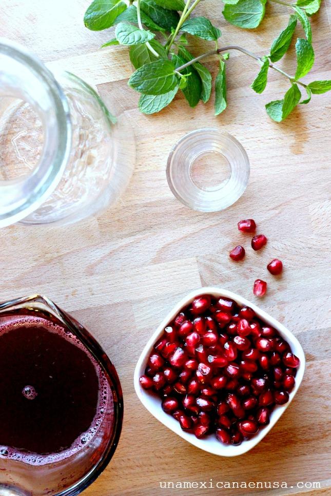 Ingredientes para preparar refresco de granada y menta by www.unamexicanaenusa.com
