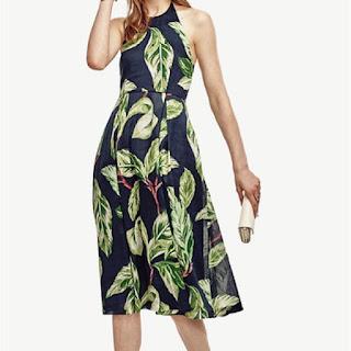 Palm leaf print dark green halter neck dress
