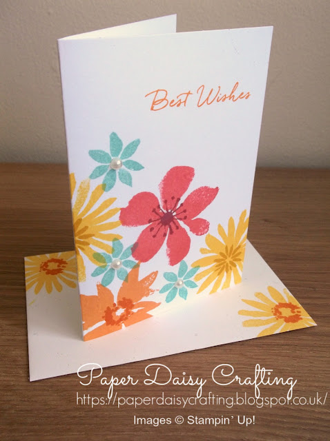 Birthday card using Blooms and Wishes from Stampin' Up!