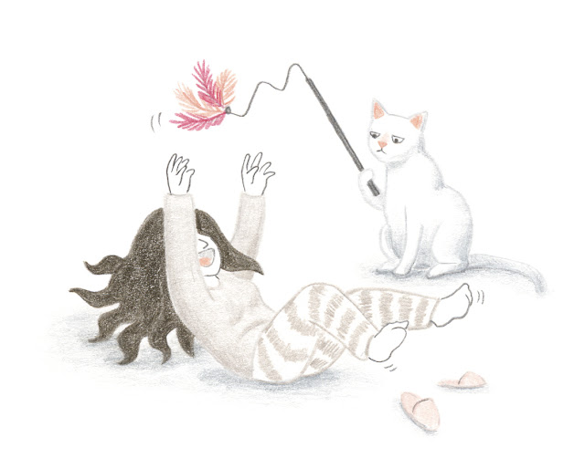 Jugar con la gata, ilustración de gato, ilustración de gato jugando, prumero de gato, gato panza arriba, diversión, gato divertido