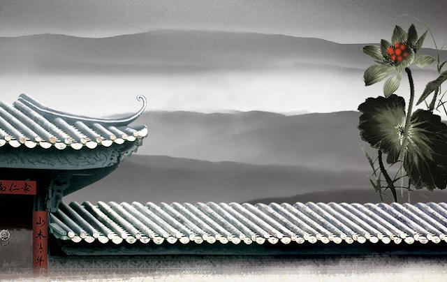 瓦葺の土塀を描いた中国の墨彩画