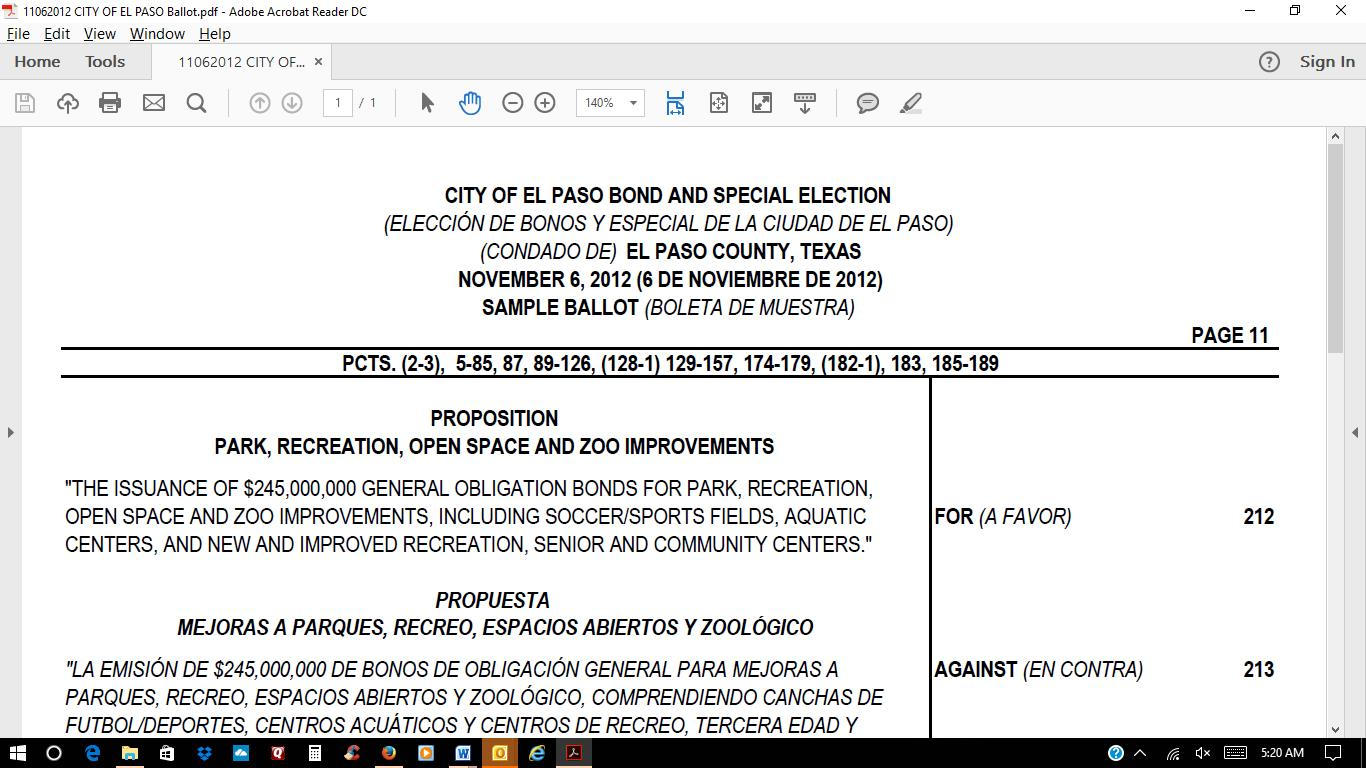 Deep inside el paso not true the voters voted for the arena top of the 2012 quality of life ballot aiddatafo Images