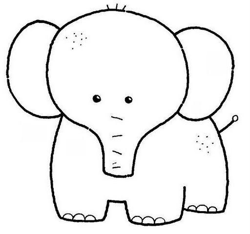 Tranh tô màu voi con xinh xắn