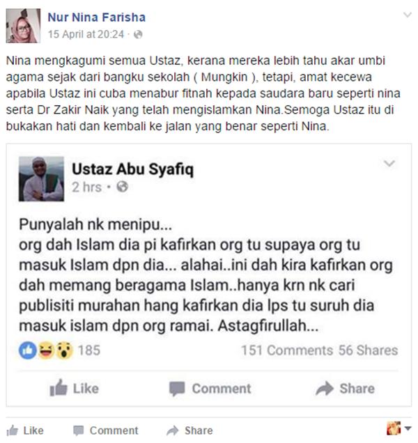 Ustaz Fitnah Dr. Zakir Naik Kafirkan Orang Islam, Ini Luahan Kesal Nina Farisha BIKIN PANAS!