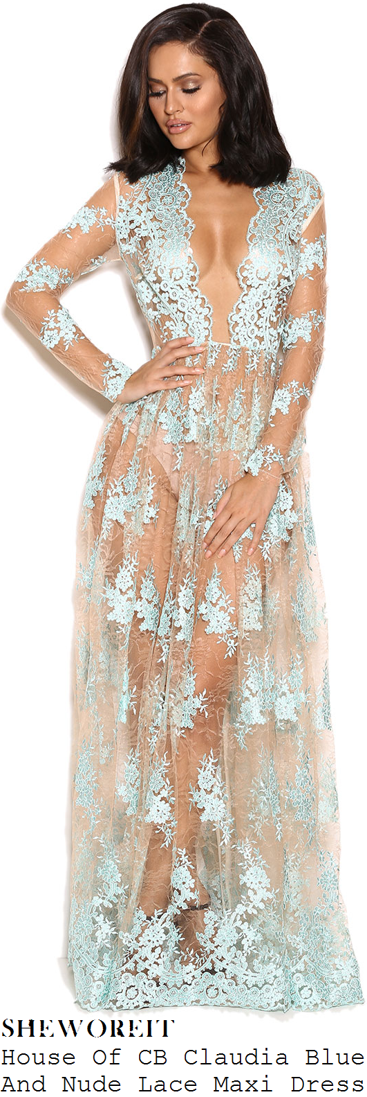 danielle-armstrong-nude-and-pale-baby-blue-floral-lace-applique-long-sleeve-plunge-front-sheer-mesh-maxi-dress-towie-gran-canaria-pool-party