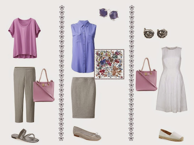 Three outfits from a grey, white, pink and purple travel or capsule wardrobe.