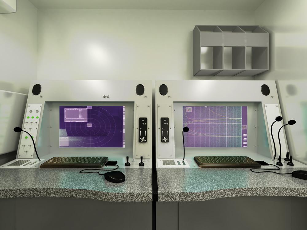 Зовнішній вигляд робочого місця оператора оглядового радіолокатора і оператора посадочного радіолокатора РСП-10МА