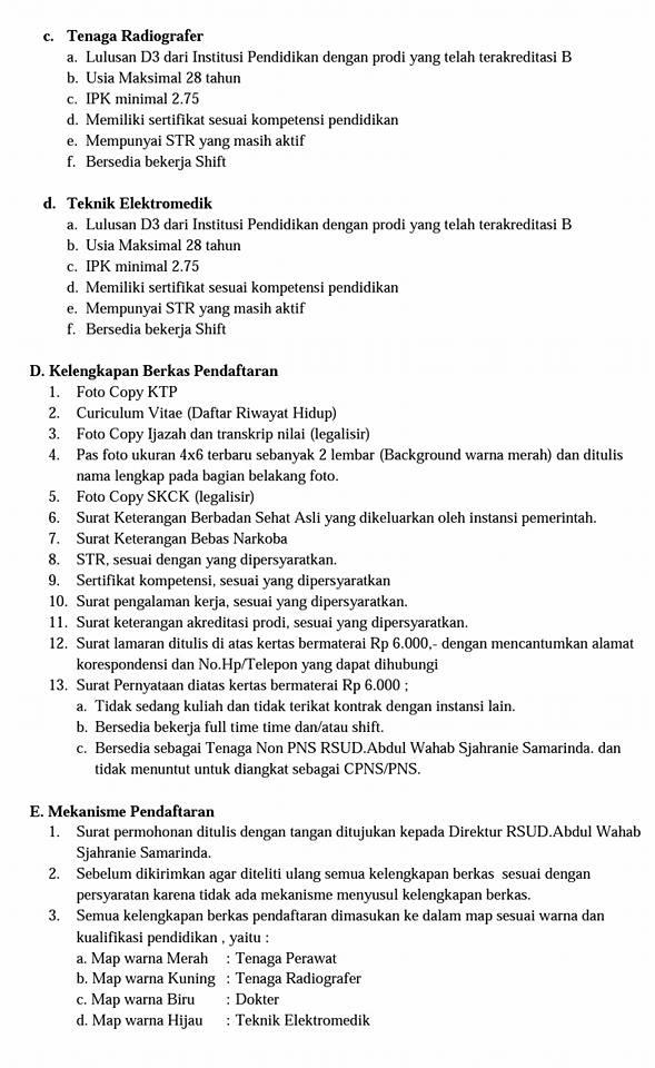Penerimaan Tenaga Non PNS di RSUD Abdul Wahab Sjahranie Samarinda Tahun 2017