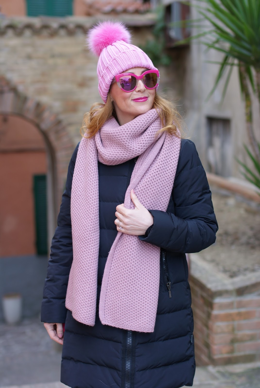 Pink scarf and hat and Moncler jacket on Fashion and Cookies fashion blog, fashion blogger style