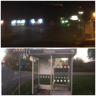 Bildmontage med bild på stängda grindar vid mitt jobb i oktobermörkret och en bild på busskur.
