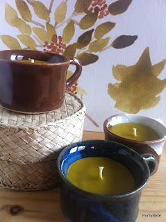 Little espresso size cup candles in beeswax