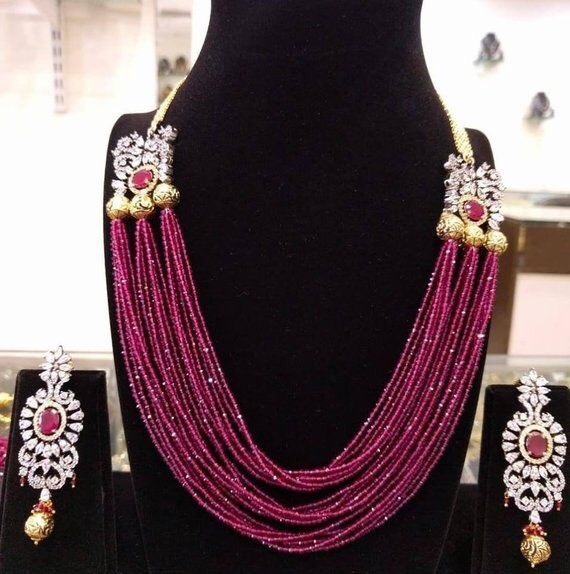 Small Ruby Beads Strings Long Haram